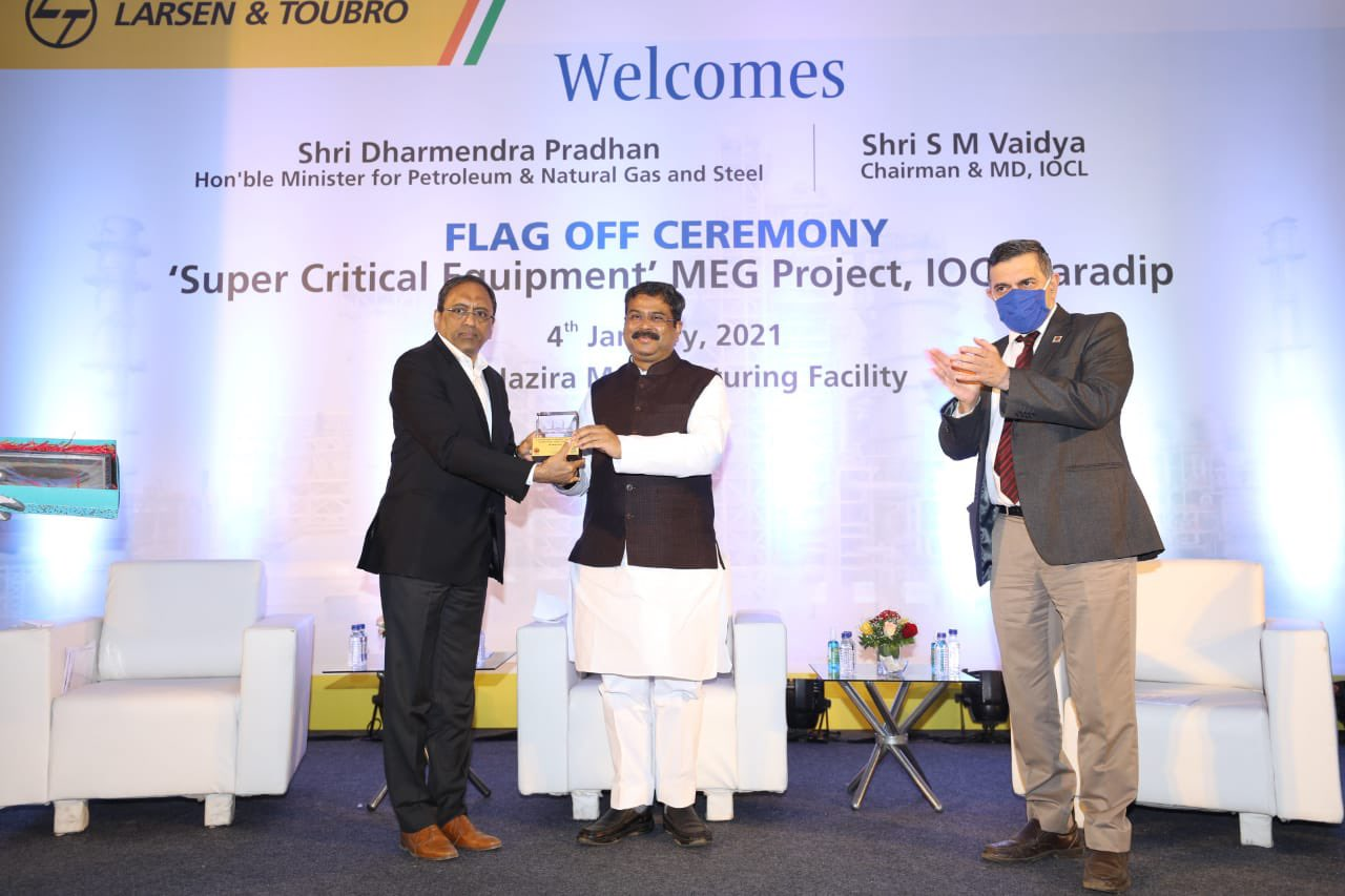 Pradhan flags off indigenous critical components of IOCL Paradip MEG plant