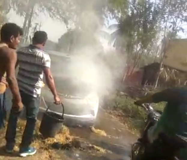 Moving car catches fire in Angul, driver escapes unhurt