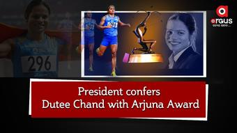 President confers Dutee Chand with Arjuna Award