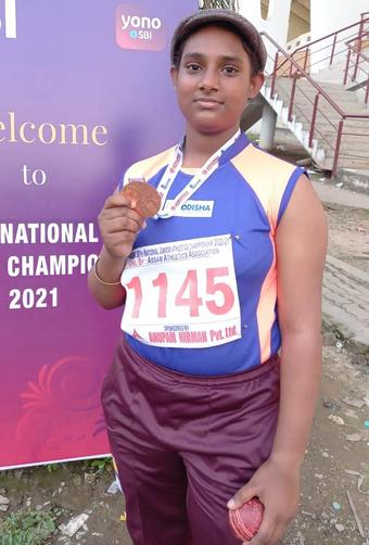 Odia girl grabs bronze in ball throw in Junior Championships
