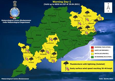 Thunderstorm, lightning likely over 10 Odisha districts; Yellow warning issued
