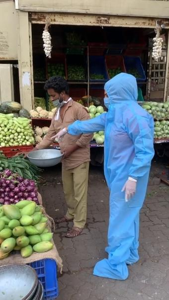 Rakhi Sawant seen vegetable shopping in PPE suit