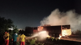 Iron ore-laden truck catches fire in Khordha