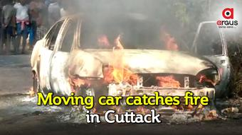 Moving car goes up in flames in Cuttack, driver escapes