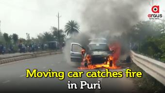 Moving car catches fire in Puri; Passengers safe