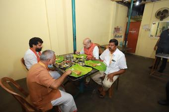 After rally and roadshow, Shah enjoys dinner at 'dhaba'