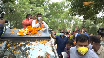 Pipili bypoll: Union Minister Dharmendra Pradhan campaigns for BJP candidate