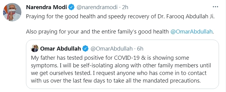 Modi wishes Farooq Abdullah speedy recovery from Covid