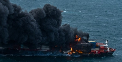 SL continues fire fighting efforts onboard burning ship