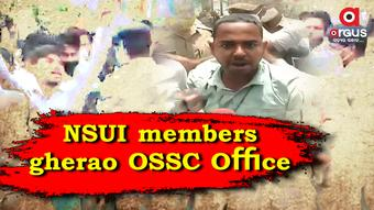 NSUI members gherao Odisha Staff Selection Commission Office