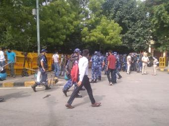 Multi-layer security at Jantar-Mantar in view of farmers protest